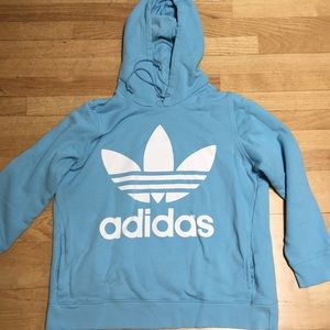 Adidas Baby Blue Hoodie Sweatshirt Cotton XL